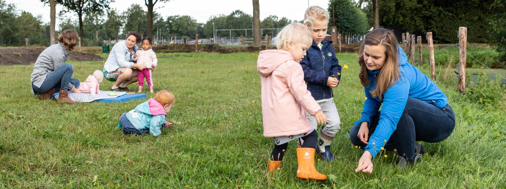 Buiten spelen in het gras